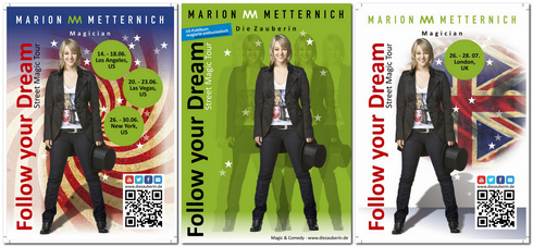 layout for posters and other promotional materials for Die Zauberin, Marion Metternich
